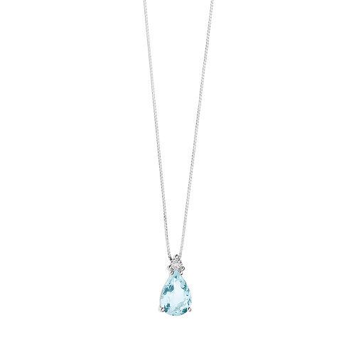 Girocollo in Oro 18 carati con Diamanti e Aquamarina goccia
