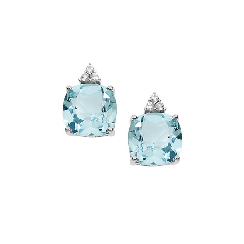 Orecchini in Oro 18 carati con Diamanti e Topazi azzurri