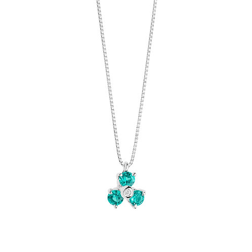 Girocollo in Oro 18 carati con Diamanti e Smeraldo
