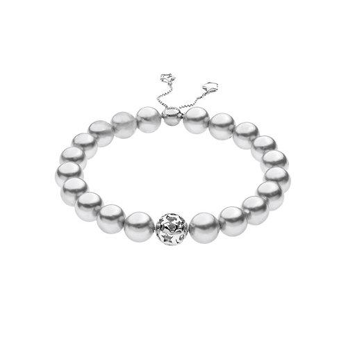 Bracciale con shell pearls e sfera centrale in argento
