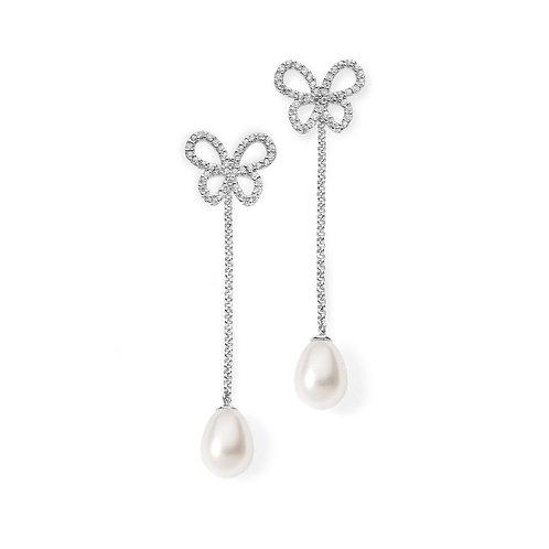 Orecchini Farfalle chandelier in Argento e perle