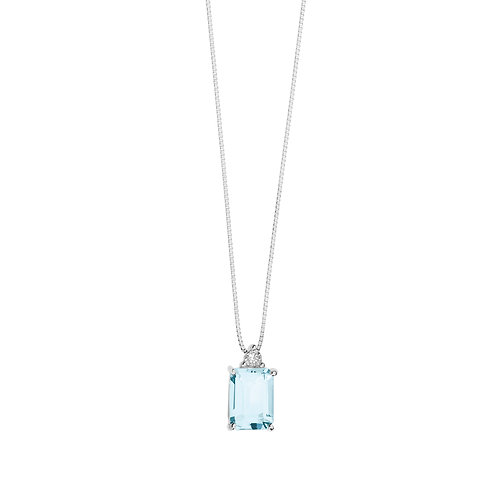 Girocollo in Oro 18 carati con Diamanti e Aquamarina taglio antico