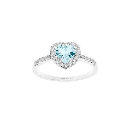 Anello in Oro con Diamanti e Aquamarina cuore