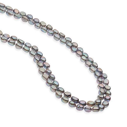 Girocollo filo Perle barocche grigie