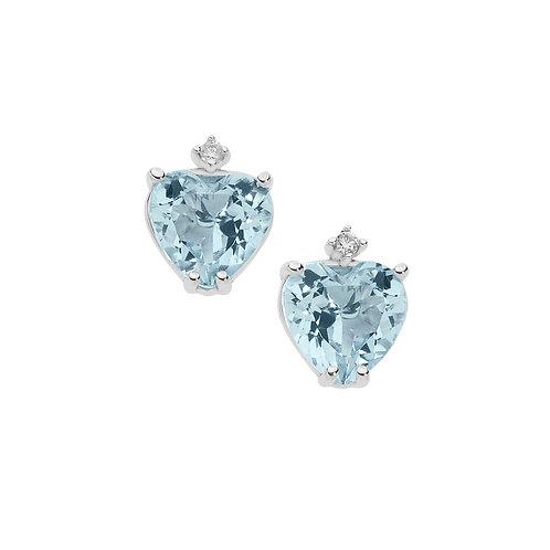 Orecchini in Oro 18 carati con Diamanti e Aquamarina taglio cuore