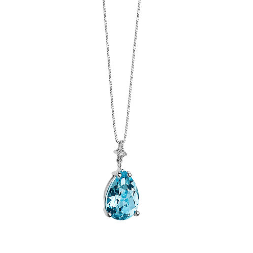 Girocollo in Oro 18 carati con Diamanti e Topazio azzurro goccia
