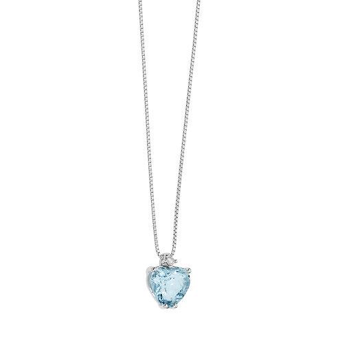 Girocollo in Oro 18 carati con Diamanti e Aquamarina cuore