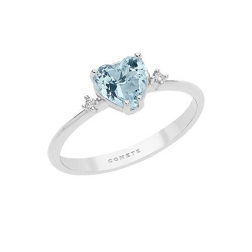 Anello in Oro 18 carati con Diamanti e Aquamarina cuore