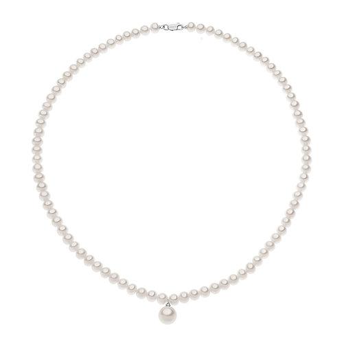 Girocollo Filo Perle in Oro 18 carati con Diamante