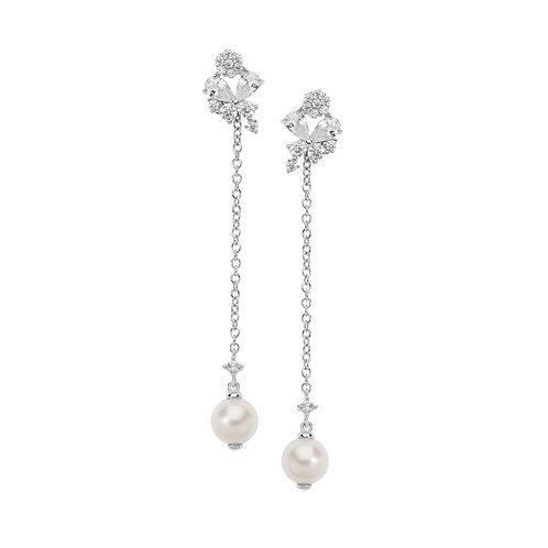 Orecchini in Argento con Farfalle di Zirconi e Perle