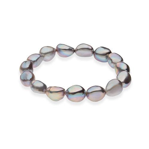 Bracciale filo Perle barocche grigie