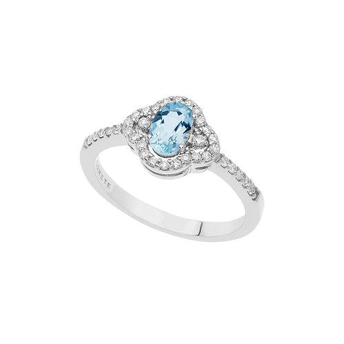 Anello in Oro 18 carati con Diamanti e Aquamarina ovale