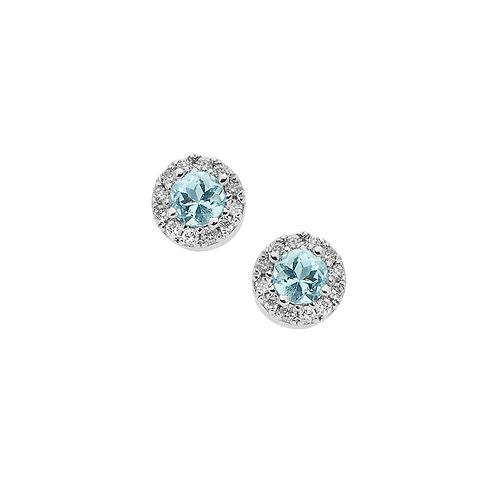 Orecchini in Oro 18 carati con Diamanti e Aquamarina tonda