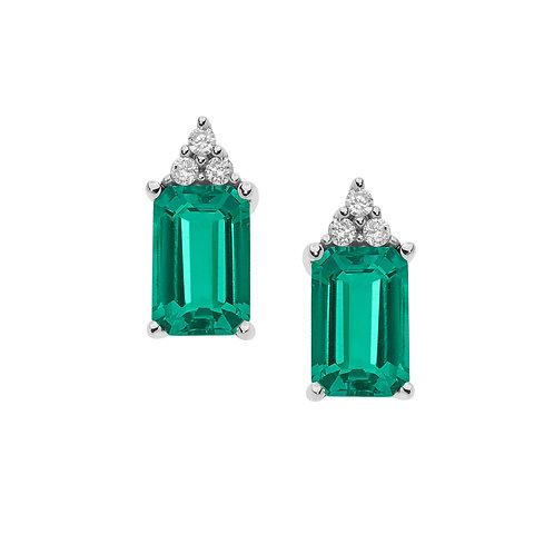 Orecchini in Oro 18 carati con Diamanti e Smeraldi