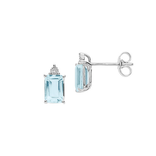 Orecchini in Oro 18 carati con Diamanti e Aquamarina taglio antico