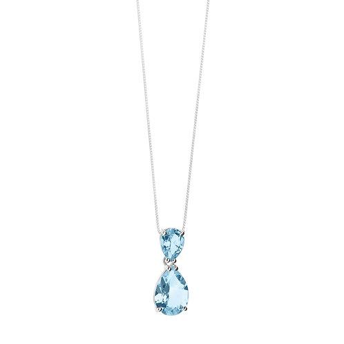 Girocollo in Oro 18 carati con Diamanti e Topazi azzurri