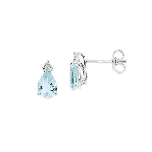 Orecchini in Oro 18 carati con Diamanti e Aquamarina goccia