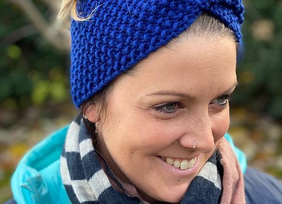 Stirnband gestrickt Königsblau