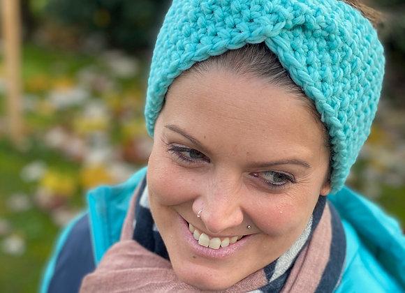 Stirnband gestrickt Türkis