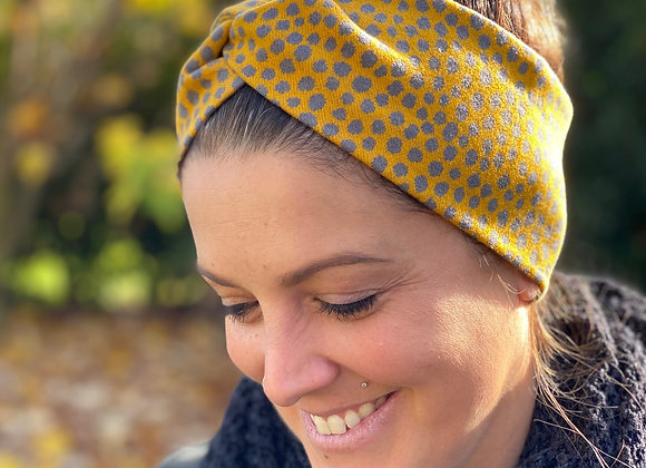 Stirnband genäht Senfgelb mit grauen Tupfen