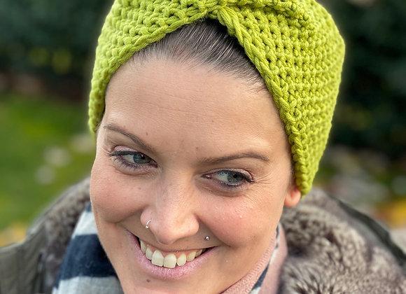Stirnband gestrickt Hellgrün