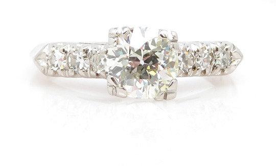 Vintage Platinum 0.90ct Diamond Ring