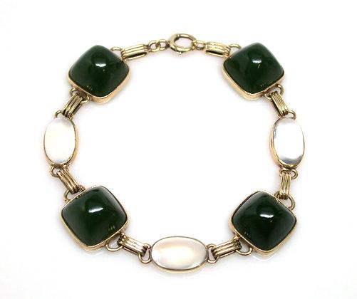 14kt Moonstone and Green Onyx Bracelet