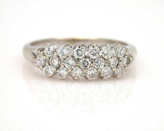 14kt Triple Row Diamond Ring