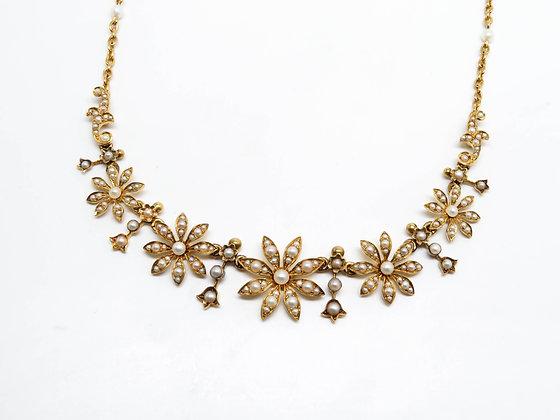 18K Pearl Flower Necklace