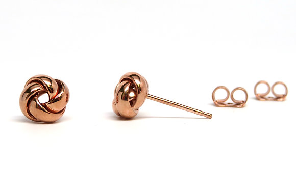 14K Rose Gold Love Knot Studs