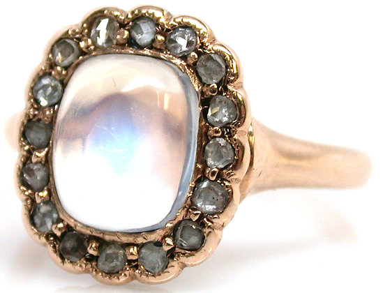 14kt Moonstone & Rose Cut Diamond Ring
