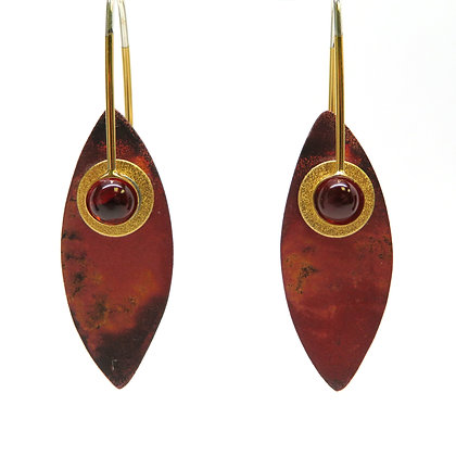 Garnet Copper Raku Vermeil Earrings