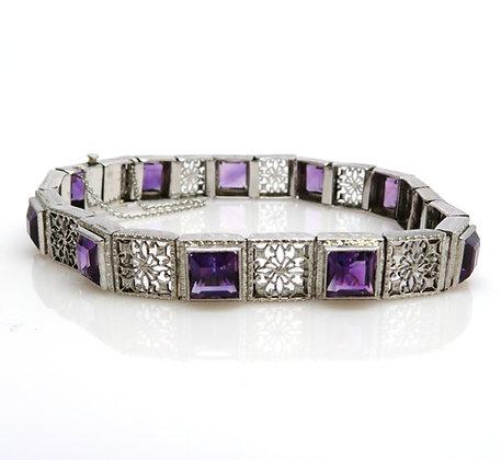 14K White Gold Amethyst Bracelet