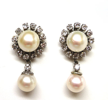 14K Pearl and Diamond Halo Earrings On Hold