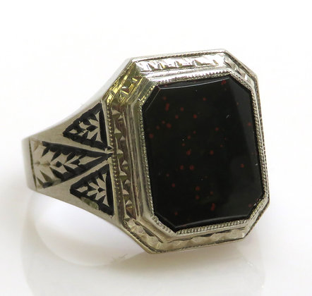 10K Bloodstone and Enamel Ring