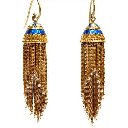 14K Enamel Pearl Tassle Earrings
