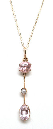 14kt Precious Pink Topaz & Pearl Pendant