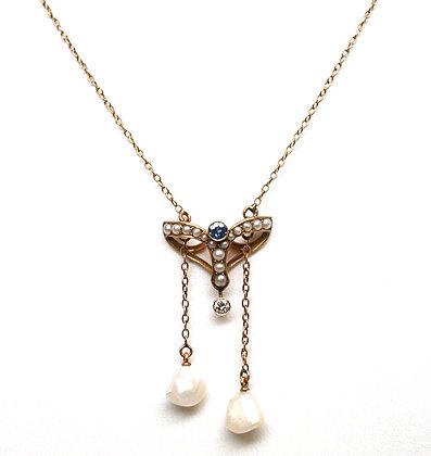 14k Sapphire Diamond Pearl Negligee