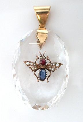 14kt Quartz, Sapphire, Ruby & Pearl Bug Pendant