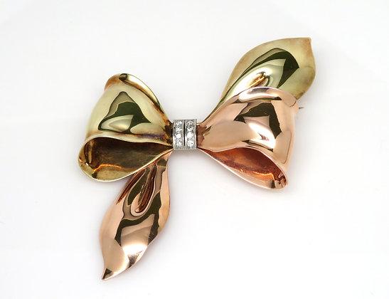 Three Tone Diamond Bow Pin