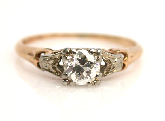 14k Old European Cut 0.35ct Diamond Ring