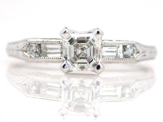 Platinum GIA 0.53ct Asscher Cut Diamond Ring
