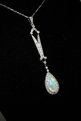 Platinum/18kt Diamond & Opal Necklace
