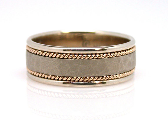 14kt Two Tone Gents Wedding Band