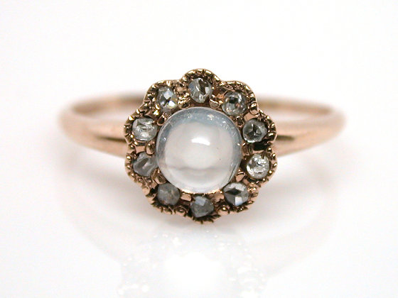 10kt Victorian Moonstone and Rose Cut Diamond Ring