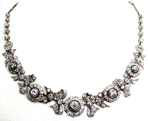 14K Gold, Silver, and  Diamond Necklace