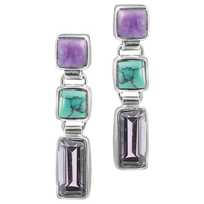Sterling Silver Sugilate, Turquoise, and Amethyst Earrings