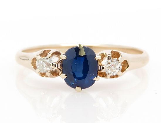 Antique 14kt Sapphire & Old Mine Cut Diamond Ring