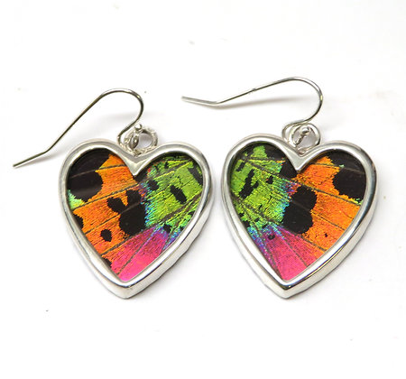 Small Sunset Moth Heart Earrings