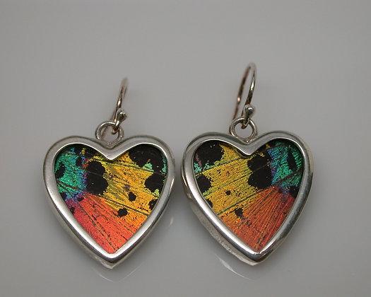 Small Sunset moth heart earrings
